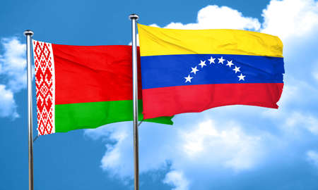 venezuela flag: Belarus flag with Venezuela flag, 3D rendering