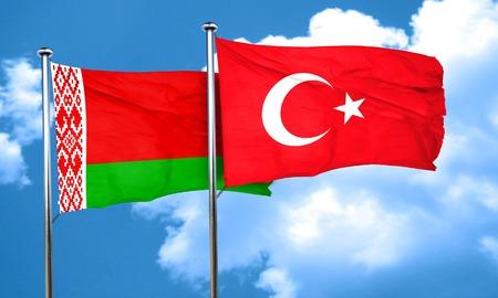 3d turkey: Belarus flag with Turkey flag, 3D rendering