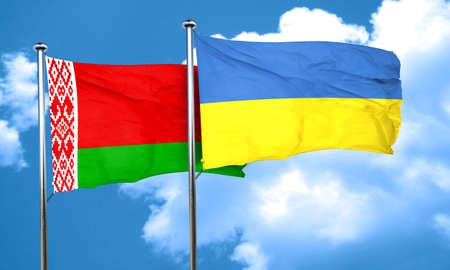 ukraine flag: Belarus flag with Ukraine flag, 3D rendering