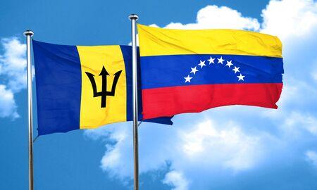 bandera de venezuela: bandera de Barbados con la bandera de Venezuela, 3D Foto de archivo