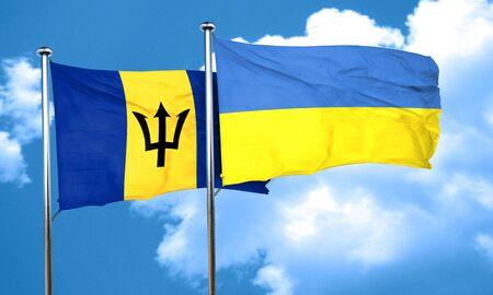 ukraine flag: Barbados flag with Ukraine flag, 3D rendering
