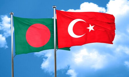 turkish flag: Bangladesh flag with Turkey flag, 3D rendering