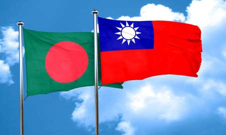 flag pole: Bangladesh flag with Taiwan flag, 3D rendering Stock Photo