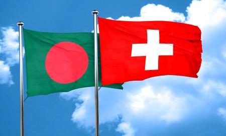 flag pole: Bangladesh flag with Switzerland flag, 3D rendering