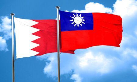 taiwanese: Bahrain flag with Taiwan flag, 3D rendering Stock Photo