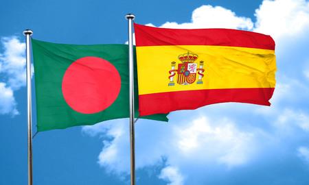 flag pole: Bangladesh flag with Spain flag, 3D rendering