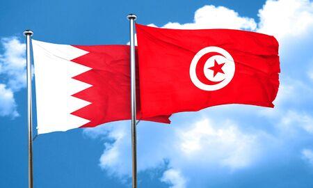 bahrain: Bahrain flag with Tunisia flag, 3D rendering Stock Photo