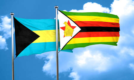 zimbabue: bandera de Bahamas con la bandera de Zimbabwe, 3D Foto de archivo