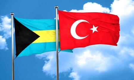 3d turkey: Bahamas flag with Turkey flag, 3D rendering Stock Photo