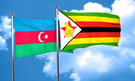 zimbabwe: Azerbaijan flag with Zimbabwe flag, 3D rendering