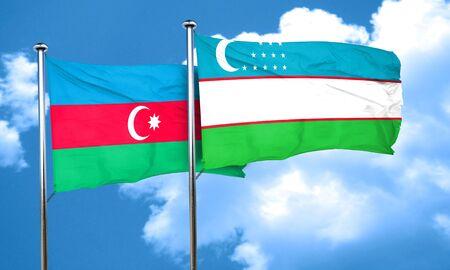 uzbekistan: Azerbaijan flag with Uzbekistan flag, 3D rendering
