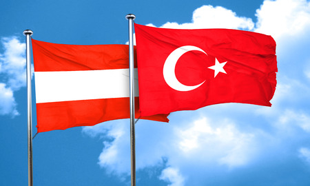 3d turkey: Austria flag with Turkey flag, 3D rendering Stock Photo