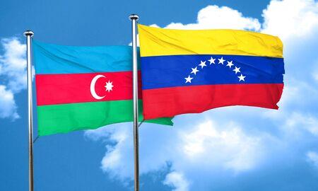 bandera de venezuela: bandera de Azerbaiyán con la bandera de Venezuela, 3D Foto de archivo