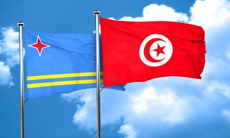 aruba flag: aruba flag with Tunisia flag, 3D rendering