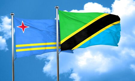 aruba flag: aruba flag with Tanzania flag, 3D rendering