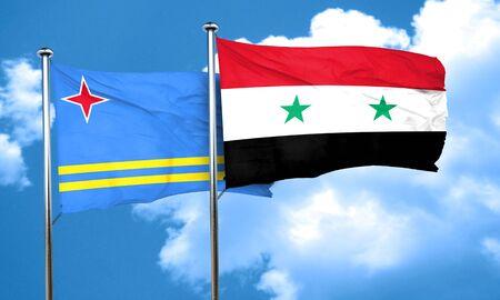 aruba flag: aruba flag with Syria flag, 3D rendering