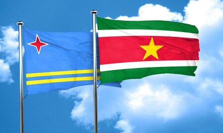 aruba flag: aruba flag with Suriname flag, 3D rendering