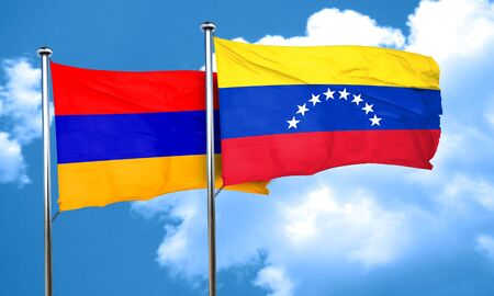venezuela: Armenia flag with Venezuela flag, 3D rendering Stock Photo
