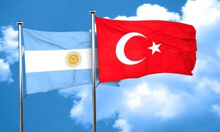 bandera argentina: Bandera de Argentina con bandera de Turqu�a, 3D