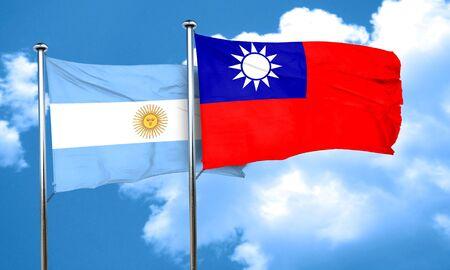bandera argentina: Bandera de Argentina con la bandera de Taiw�n, 3D