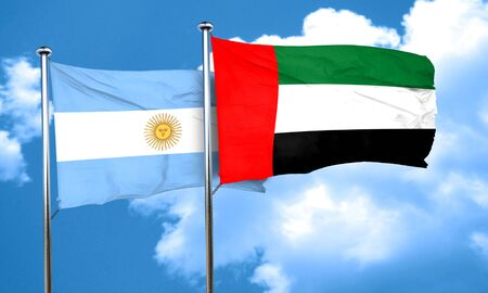 argentina flag: Argentina flag with UAE flag, 3D rendering