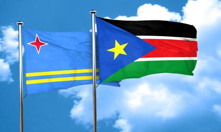 aruba flag: aruba flag with South Sudan flag, 3D rendering