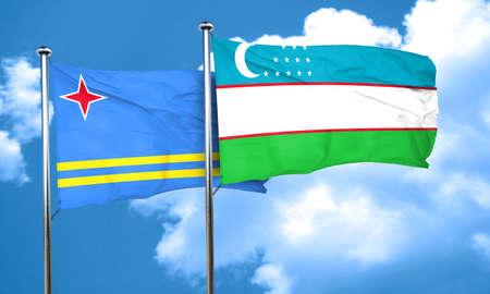 aruba flag: aruba flag with Uzbekistan flag, 3D rendering