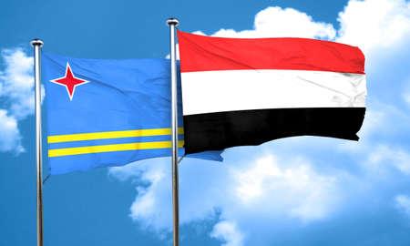 aruba flag: aruba flag with Yemen flag, 3D rendering
