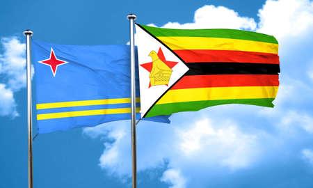 aruba flag: aruba flag with Zimbabwe flag, 3D rendering