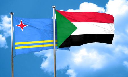 aruba flag: aruba flag with Sudan flag, 3D rendering