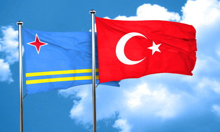 aruba: aruba flag with Turkey flag, 3D rendering Stock Photo