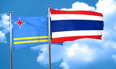 aruba flag: aruba flag with Thailand flag, 3D rendering