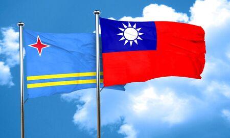 aruba flag: aruba flag with Taiwan flag, 3D rendering Stock Photo