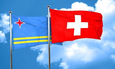 aruba flag: aruba flag with Switzerland flag, 3D rendering