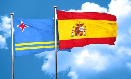aruba flag: aruba flag with Spain flag, 3D rendering