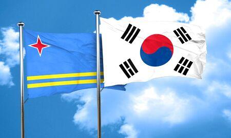 aruba flag: aruba flag with South Korea flag, 3D rendering Stock Photo