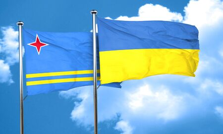 aruba: aruba flag with Ukraine flag, 3D rendering Stock Photo