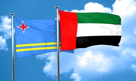 aruba flag: aruba flag with UAE flag, 3D rendering Stock Photo