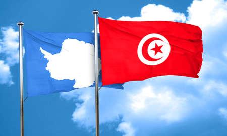 antarctica: antarctica flag with Tunisia flag, 3D rendering