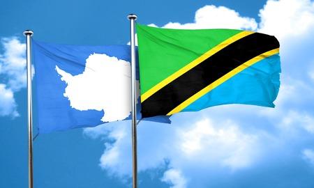 antarctica: antarctica flag with Tanzania flag, 3D rendering