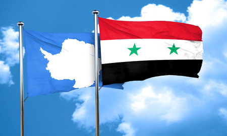 antarctica: antarctica flag with Syria flag, 3D rendering Stock Photo