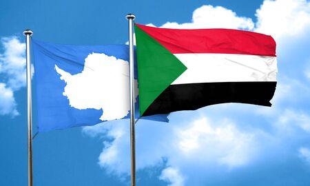 antarctica: antarctica flag with Sudan flag, 3D rendering Stock Photo