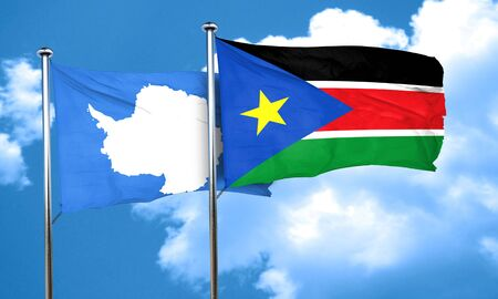 antarctica: antarctica flag with South Sudan flag, 3D rendering Stock Photo