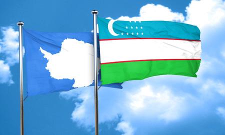 antarctica: antarctica flag with Uzbekistan flag, 3D rendering