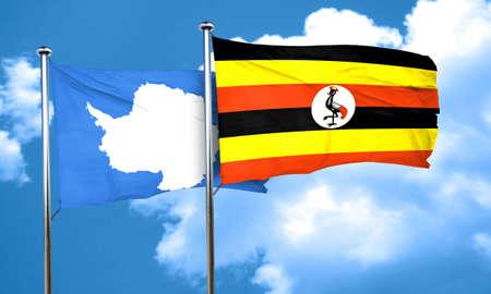 antarctica: antarctica flag with Uganda flag, 3D rendering