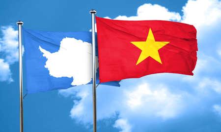 antarctica: antarctica flag with Vietnam flag, 3D rendering