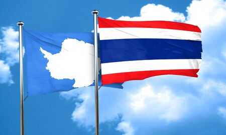 antarctica: antarctica flag with Thailand flag, 3D rendering Stock Photo