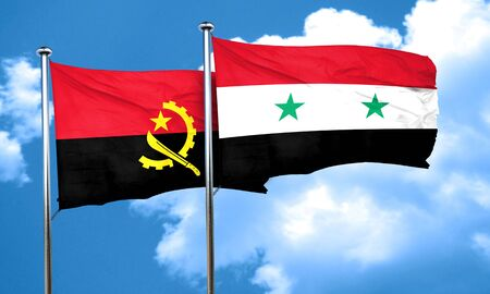 angola: Angola flag with Syria flag, 3D rendering