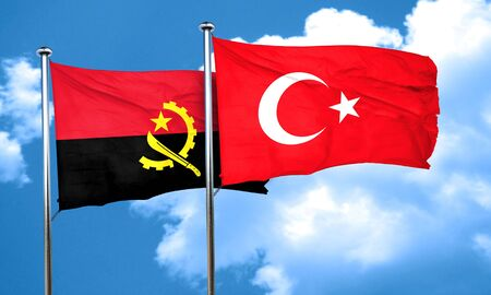 3d turkey: Angola flag with Turkey flag, 3D rendering