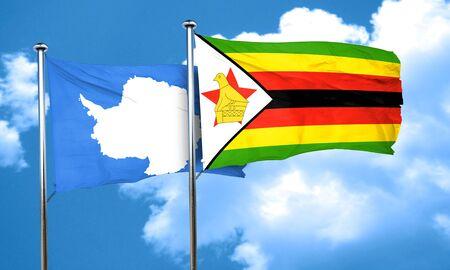 antarctica: antarctica flag with Zimbabwe flag, 3D rendering Stock Photo